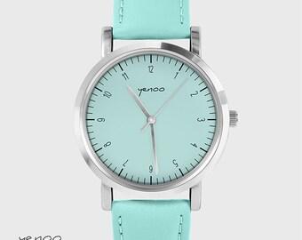 Bracelet Watch - Simple elegance - turquoise, leather
