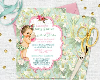 Island Tropical Invitation | Caucasian Vintage Baby | Personalized Digital File