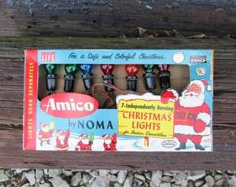 Vintage Amico Christmas Lights by NOMA String of 7 Indoor Lights in Box Mid Century