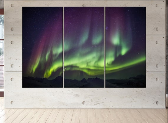Northern Lights - Spitsbergen large canvas wall art  decor print Northern Lights  large  living room  Office Decor