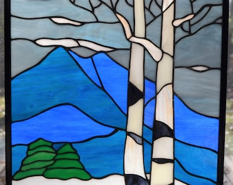 Stained glass panel of aspen trees in winter mountains 16 x 12.5