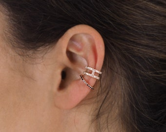 Rose gold ear cuff, black diamond ear cuff, rose gold helix, solid rose gold earrings, no pierce ear cuff, 14k gold ear cuff, helix earring