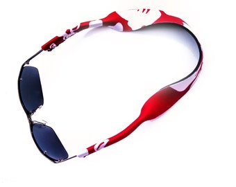 Sunglass Straps, Croakie Style, Sunglass Cords, Sunnies, Eyewear Retainer, Neoprene, Hibiscus, Red