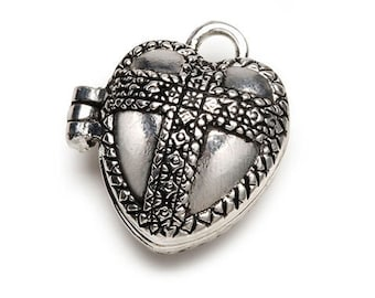 Puffy Heart with Cross Prayer Box Pendant, Antique Silver Finish #2022
