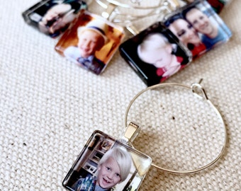 Custom Photo Glass Wine Charm Party Favor Tags - 15 mm Squares - Personalized Image, Children, Wedding, Bride Groom, Pets, Baby Shower, Logo