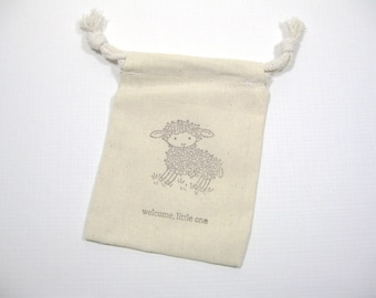 Set of 10  baby lamb shower muslin favor bags 3.5 inch by 5 inch - gender neutral favor bags - baby lamb - gift bags