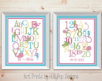 Girl Nursery Decor Nursery Wall Decor Duo Print Set Alphabet Number ABC prints Typographic Print Baby girl Nursery Pink Aqua Wall Art