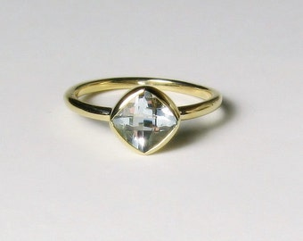 White Topaz Cushion 14K Gold , Made to Order, white, yellow, and rose gold, Engagement Ring