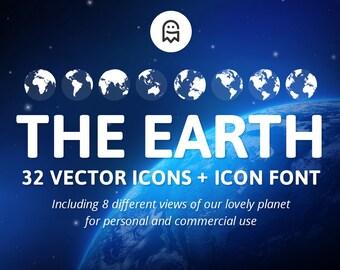 Die Erde - Set von 32 Symbole & Symbol Schriftart