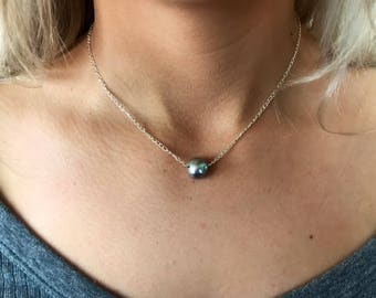 Dainty Silver Opalish Pearl Necklace