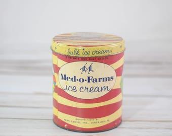 Vintage Med-O-Farms Metal and Cardboard Ice Cream Bucket Container Half Gallon