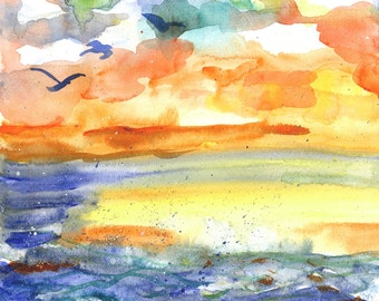 Playful Sea Original Landscape Painting Watercolor Beach Sunset Illustration Original Landscape Art by Niina Niskanen