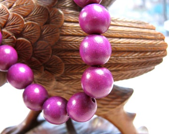 wood beads, 35 beads, deep violet color, 12mm   # 286