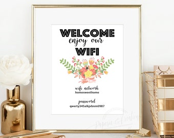 WIFI Password Printable - Welcome Sign - Guest Room Sign - Instant Download - Editable PDF File -
