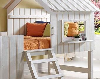 Loft bed Ranza Playhouse Oyun evi rustic pearl
