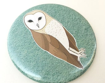 barn owl pocket mirror - bird mirror - owl gift - illustrated bird gift - compact mirror