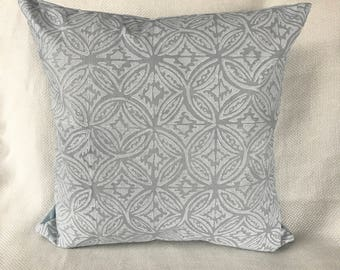 Pale Blue Hand Printed Linen Pillow