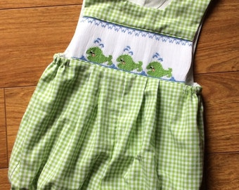 Boy's, toddler hand smocked whale bubble - size 12m