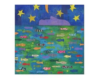 ORIGINAL 11x14 PAINTING, FAITH, fish art, fish painting, nursery art,  by Elizabeth Rosen