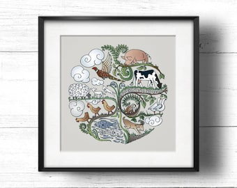 Born to Roam (Stone) - A4 Sq Giclée Print - Free Range / Vegan Farm Animals, Contemporary Country Cottage Kitchen Style Picture