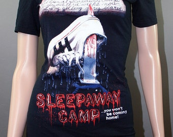 Sleepaway Camp Horror Movie Halloween Off Shoulder Tunic Lace Top Shirt Goth 80s