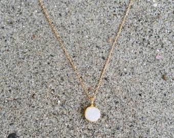 Tiny Gold Druzy necklace, Dainty, Druzy, Gold Necklace