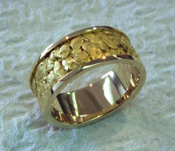 Hand Made 18k yellow gold sluice box ring filled with 23k gold