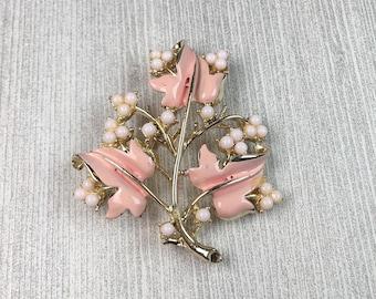Pink Leaf Brooch | Coro | 1960s Vintage