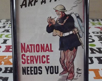 Old Engraving Advertising Facsimile 'Arf a Mo' National Service Needs You Learn Now! - Be ready!