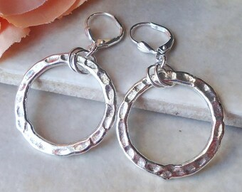 Silver Circle Hoop Earrings.Hammered.Metal.Round Dangle.Drop.Statement.Infinity.Bridal.Valentine.Mother's.Graduation.Birthday.Gift.Handmade.