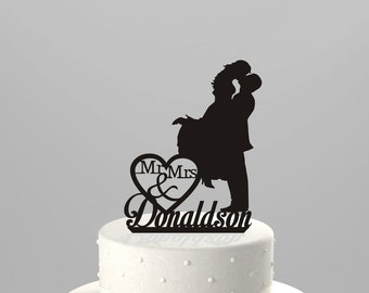 Wedding Cake Topper Silhouette Couple Mr & Mrs Personalized with Last Name, Acrylic Cake Topper [CT3b]