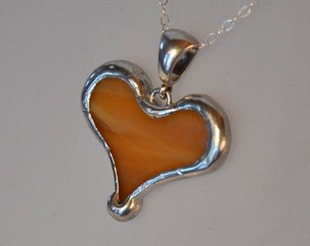 Caramel brown heart necklace