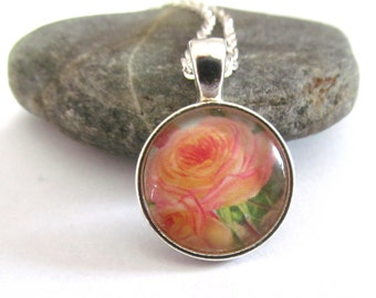 Pink Rose Necklace,  Rose Jewelry, Small Rose Pendant, Floral Print, Pink FlowerJewelry, Gift for Gardener, Delicate Silver Necklace