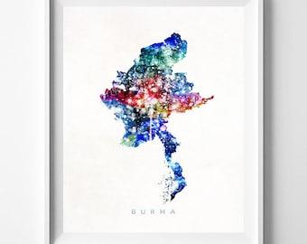 Burma Map, Myanmar Print, Burma Poster, Naypyidaw Map, State Art, Giclee Art, Map Art, Map Print, Travel Poster, Mothers Day Gift