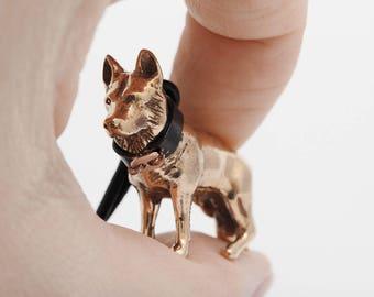 Vakkancs German Shepherd minisculpture keychain (3D solid bronze)