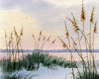 Dusk in the Sand Dunes and Sea oats- Beach Decor- Beach Print- Beach House Decor