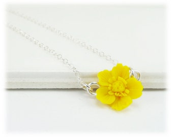 Tiny Yellow Buttercup Necklace - Buttercup Jewelry, Yellow Buttercup