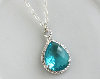 Sea Green Necklace Silver Teardrop Teal Jewelry - Sterling Silver Chain - Teal Bridesmaid Necklace - Teal Bridesmaid Jewelry Wedding Jewelry