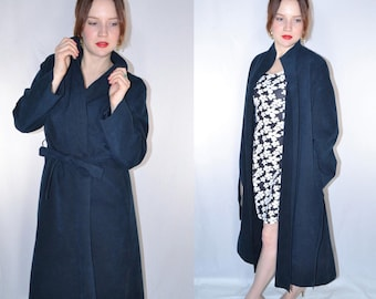 70's Navy Blue Ultra Suede Trench Coat // Tie-Front Waist, Vintage Trench Jacket with Pockets