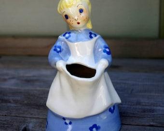 Brayton Laguna California Art Pottery Girl In Blue Dress Planter Vase