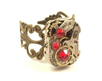 RECTANGULAR RED Steampunk Vintage Ring