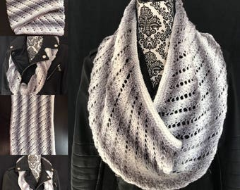 Grey and White Lacey Snowy Slope Stitch - Hand-knit, One of a Kind!
