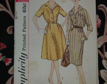 Vintage Pattern c.1960's Simplicity No.3758  Half Size Slenderette Dress Sz. 14 1/2  Uncut