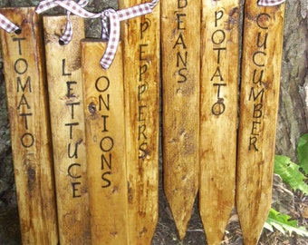 Garden Vegetable Stakes, Signs, Primitive Rustic Garden Plant Markers,  Handmade, Wooden Signs