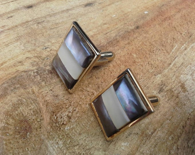 Vintage Hickok USA MOP Abalone Shell Inlay Gold Tone Cuff Links c 1970's