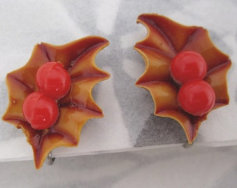 vintage celluloid autumn leaves and berries earrings - j5248