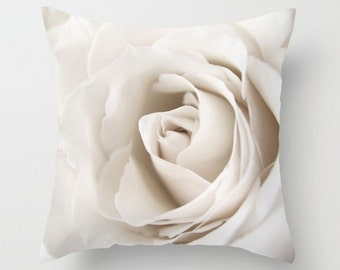 Rose Accent Pillow-Rose Pillow Cover-Floral Pillow Cover-Cream Toss Pillow-Outdoor Pillow-Rectangular Pillow-16x16/18x18/14x20/20x20/26x26