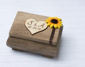 Wedding Ring Box Sunflower Ring Holder Pillow Rustic Wedding Ring Bearer Personalized