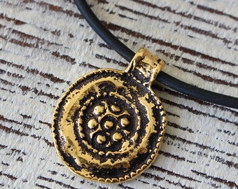 Mykonos Antiqued Gold Floral Medalion Pendant - Beads For Jewelry Making - Ancient Rustic Charms - Gold Findings  - Choose Amount