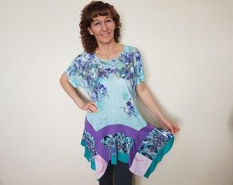 Plus size clothing Upcycled clothing Bohemian clothing Hippie clothes Altered dress plus size Refshioned tunic top Boho clothing Gypsy dress